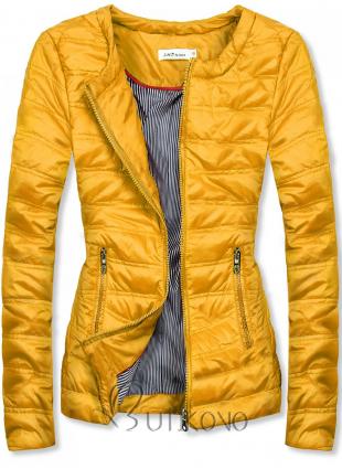 Žltá krátka prešívaná bunda