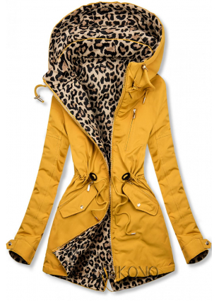Žltá obojstranná parka s leopardím vzorom