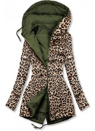 Khaki obojstranná parka s leopardím vzorom