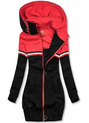 Predĺžená mikina čierna/červená