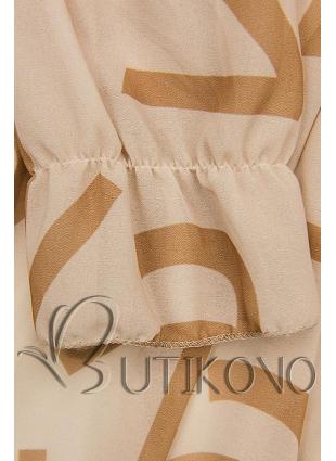 Béžové midi šaty s potlačou písmen