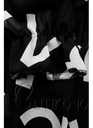 Čierne midi šaty s potlačou písmen