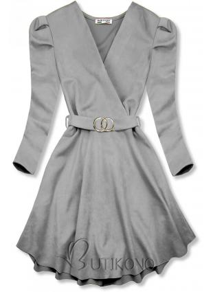 Sivé šaty s naberanými rukávmi