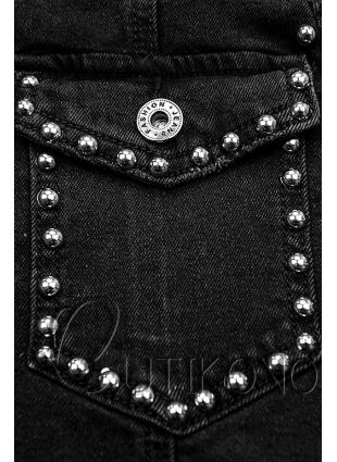 Čierna jeans sukňa so striebornými nitmi