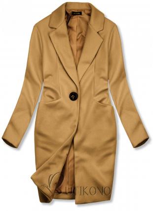 Hnedý jarný kabát so zapínaním na gombík