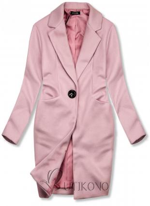 Ružový jarný kabát so zapínaním na gombík