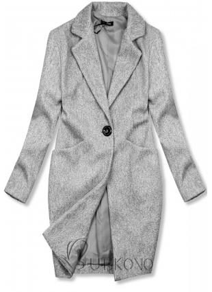 Sivý jarný kabát so zapínaním na gombík