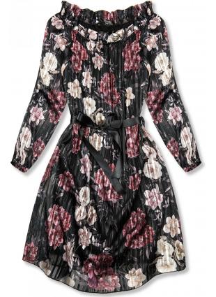 Čierne kvetinové šaty so stuhou v páse