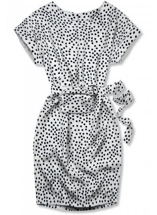 Biele bodkované šaty s taškou v páse