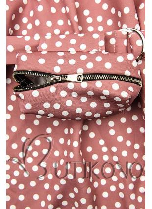 Staroružové bodkované šaty s taškou v páse