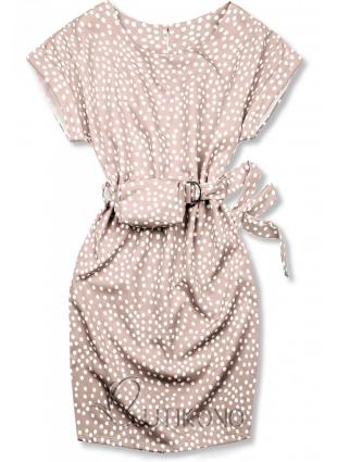 Svetloružové  bodkované šaty s taškou v páse