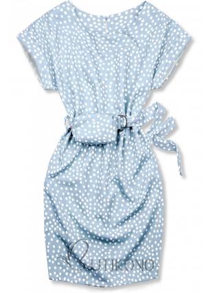 Svetlomodré bodkované šaty s taškou v páse