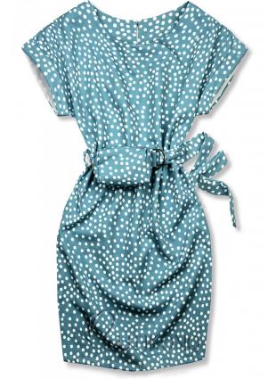 Modré bodkované šaty s taškou v páse