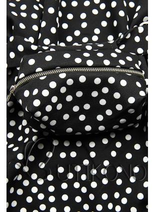Čierne bodkované šaty s taškou v páse