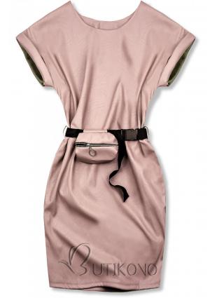 Svetloružové koženkové šaty