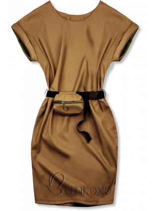 Hnedé koženkové šaty