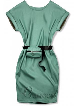 Zelené koženkové šaty