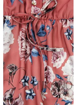 Kvetinové midi šaty tehlovočervené
