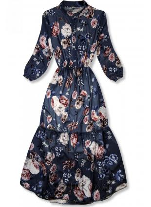 Kvetinové midi šaty tmavomodré