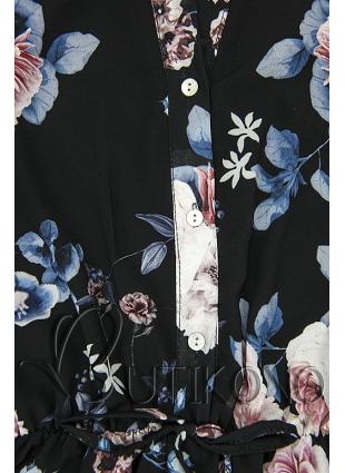 Kvetinové midi šaty čierne