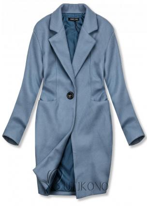 Modrý jarný kabát so zapínaním na gombík