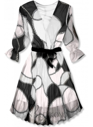 Vzorované midi šaty čierno-biele