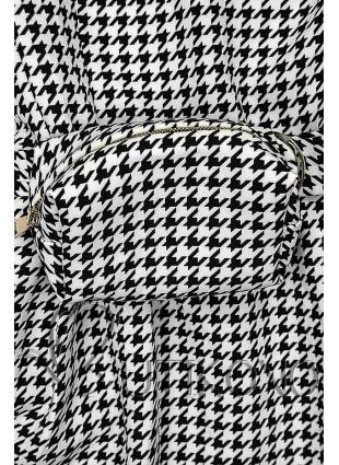 Čierno-biele šaty s taškou v páse