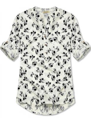 Bielo-čierna košeľa s kvetinovým vzorom