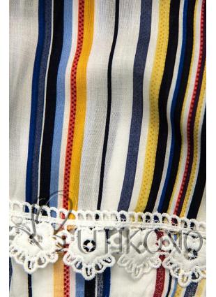 Biele pruhované šortky s čipkou