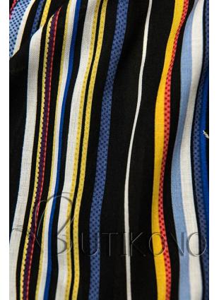 Čierne pruhované šortky s čipkou
