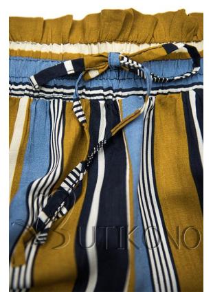 Khaki-modré pruhované šortky s čipkou
