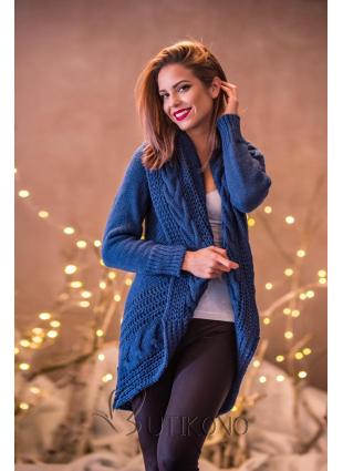 Jeans modrý pletený sveter