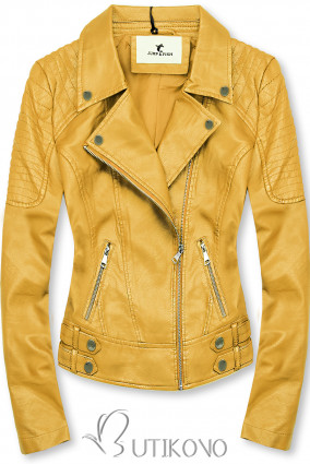 Žltá motorkárska bunda