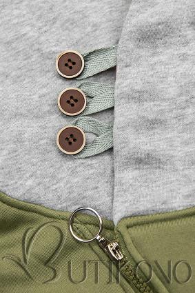 Predĺžená mikina s kapucňou khaki/sivá