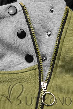 Khaki mikina so šikmým zipsom
