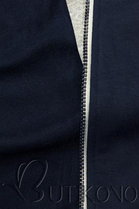 Tmavomodrá mikina so šikmým zipsom