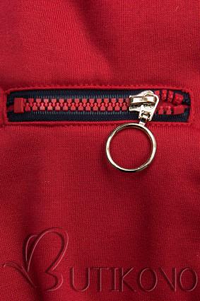 Červená mikina so šikmým zipsom