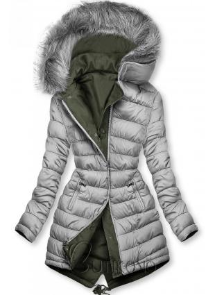 Obojstranná zimná parka khaki/sivá
