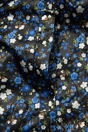 Obojstranná bunda s kvetinovým futrom čierna