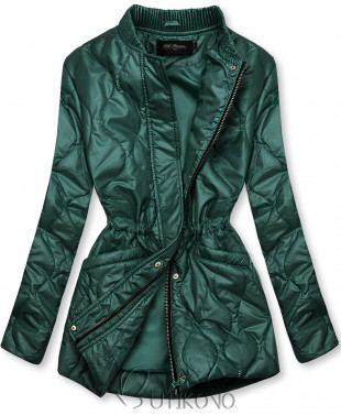 Zelená prešívaná bunda bez kapucne