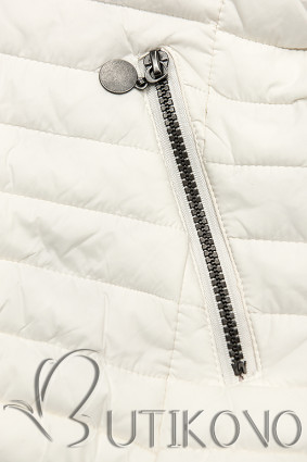 Biela prešívaná bunda so vzorovanou podšívkou