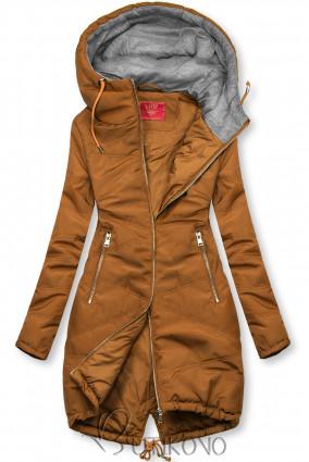Hnedá predĺžená bunda s kapucňou