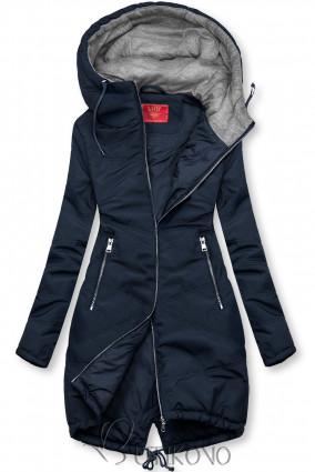 Tmavomodrá predĺžená bunda s kapucňou