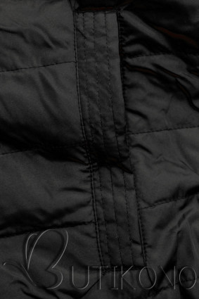 Khaki/čierna parka s kapucňou