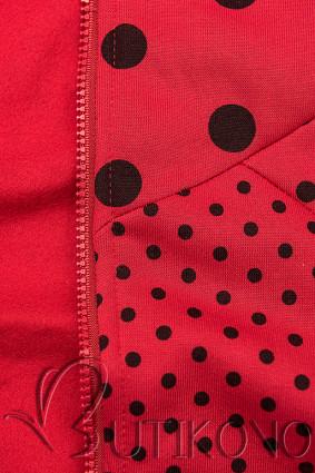 Bodkovaná tepláková súprava červená/čierna